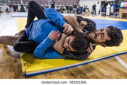 MILAZZO, ITALY - FEBRUARY 12. Rear Naked Choke (Mata Leao) during BJJ & Grappling Competition, Brazilian Jiu Jitsu Tournament, Tirreno Challenge on February 12, 2017.