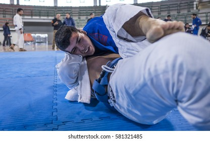 MILAZZO, ITALY - FEBRUARY 12. Side control during BJJ & Grappling Competition, Brazilian Jiu Jitsu Tournament, Tirreno Challenge on February 12, 2017.