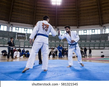 MILAZZO, ITALY - FEBRUARY 12. Slap hands during BJJ & Grappling Competition, Brazilian Jiu Jitsu Tournament, Tirreno Challenge on February 12, 2017.