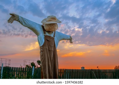 Mild Nature garden scare crow wearing brown overalls with a colorful sky from the setting sun in the background