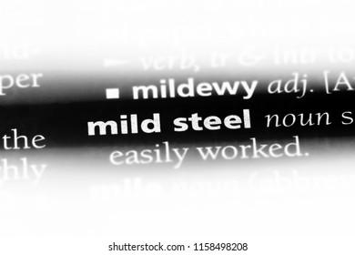 mild steel word in a dictionary. mild steel concept.