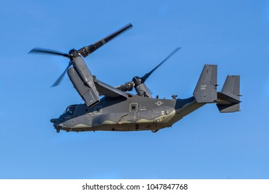 MILDENHALL, SUFFOLK, UK – FEBRUARY 16, 2018: US Air Force Bell - Vertol Osprey CV-22B 11-0061 of the 7th Special Operations Squadron, 352nd Special Operations Wing, takes off from RAF Mildenhall.