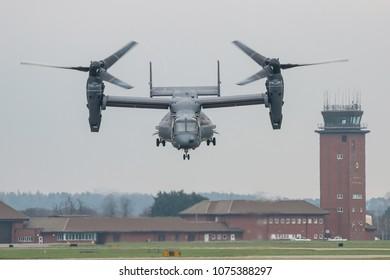 MILDENHALL, UK - APRIL 13, 2018: Bell Boeing V-22 Osprey takes off from RAF Mildenhall