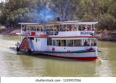 "Mildura, Australia - Sep 20 2018: The historic paddle steamer ""Melbourne"" is the only steam driven paddle steamer on the Murray River  operates popular tourist cruises on the Murray River in Mildura."