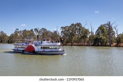 "Mildura, Australia - Sep 20 2018: The historic paddle steamer ""Rothbury"" was built in 1881 and now operates popular tourist cruises on the Murray River in New South Wales."