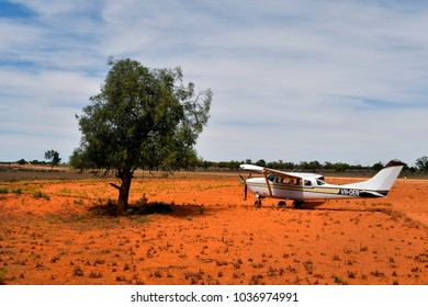 MILDURA, NSW, AUSTRALIA - NOVEMBER 09: Aircraft for scenic flights on airstrip in Mungo National Park in New South Wales, on November 09, 2017 in Mildura, Australia