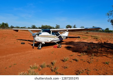 MILDURA, NSW, AUSTRALIA - NOVEMBER 09: Tiny aircraft Cessna U206G used for scenic flights on airfield in Mungo national park, on November 09, 2017 in Mildura, Australia