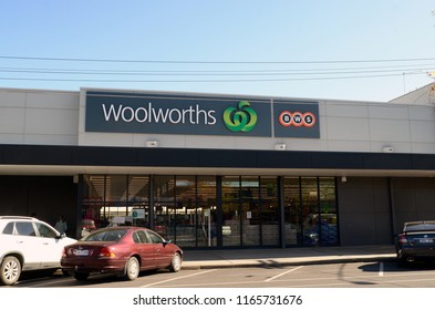 Mildura, Victoria, Australia. August 2018.  A view of the Woolworths supermarket in the Victorian town of Mildura.
