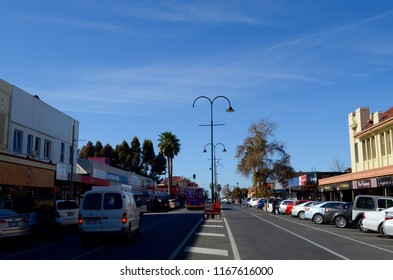 Mildura, Victoria, Australia. August 2018.  A street scene in the busy Victorian town of Mildura.