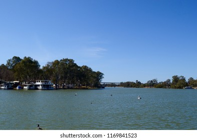 Mildura, Victoria, Australia. August 2018.  A view of the Murray River at Mildura, Victoria.