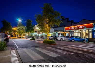Mildura, Victoria, Australia - Dec 23, 2017: Main shopping street at night