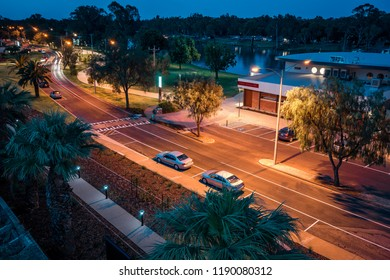 Mildura, Victoria, Australia - Dec 23, 2017: Hugh King Drive along Murray river at night