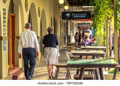 Mildura, Victoria, Australia - Dec 23, 2017: People walking along the main restaurant lane in town