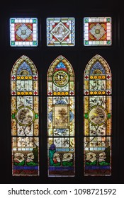 Mildura, Victoria, Australia - February 8, 2013: Victorian stained glass windows in the Rio Vista historic house which used to be the home of William Benjamin Chaffey
