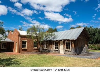 Mildura, Victoria, Australia - March 12, 2017. Historic building at the site of Old Mildura Homestead in Mildura, VIC.