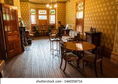Mildura, Victoria, Australia - March 12, 2017. Interior view of Rio Vista historic building in Mildura, with furniture and memorabilia.