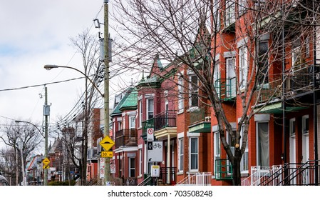 Mile End neighborhood in Montreal Quebec Canada has many town houses and duplexes