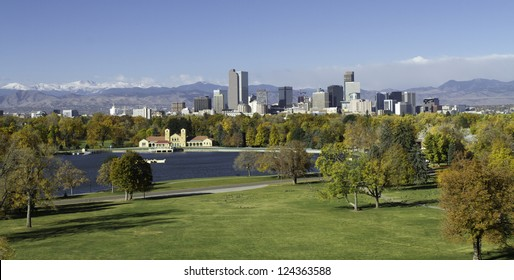 The Mile High City of Denver Colorado, with the Rocky Mountains in the background.