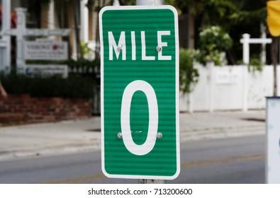 Mile Marker Zero Road Street Sign, Key West, Florida, USA