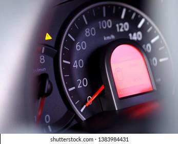 mile speedometer in car closeup.