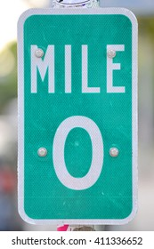 Mile Zero Sign in Key West, Florida, USA. Mile Zero Sign is the starting point of U.S. Route 1 at 490 Whitehead St. in Key West.