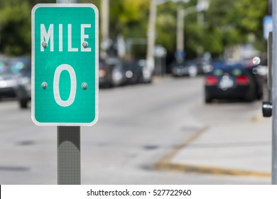 Mile Zero Sign in Key West, Florida, USA. Mile Zero Sign is the starting point of U.S. Route 1