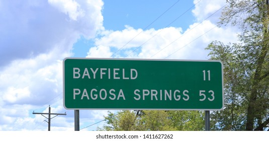 Mileage Sign: Bayfield, CO 11 / Pagosa Springs, CO 53, U.S. Hwy 160 East, Durango, CO/USA (May 29, 2019)