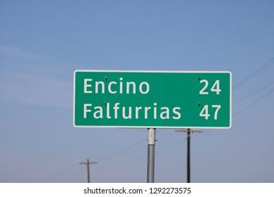 Mileage Sign: Encino, TX 24 Miles / Falfurrias 47 Miles (January 22, 2019)