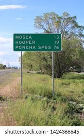 Mileage Sign on CO SR-17, Mosca 13 / Hooper 19 / Ponca Springs 76, Alamosa, CO/USA (June 13, 2019)