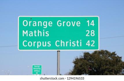 Mileage Sign: Orange Grove, TX 14 Miles / Mathis Texas / Corpus Christi 42 Miles (January 24, 2019)