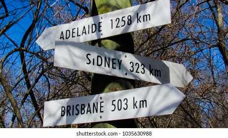 Mileage Signpost Sign to Australia