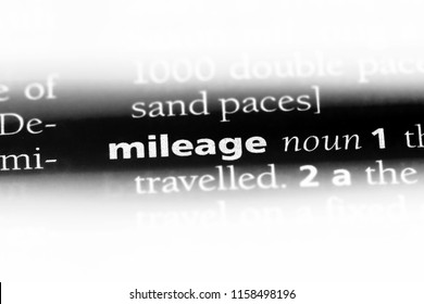 mileage word in a dictionary. mileage concept.