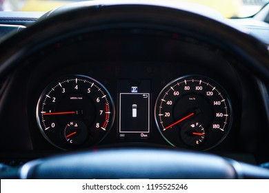 Mileage,Closeup dashboard of mileage car.1