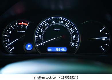 Mileage,Closeup dashboard of mileage car.2