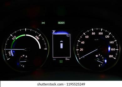 Mileage,Closeup dashboard of mileage car.3