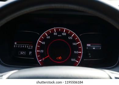 Mileage,Closeup dashboard of mileage car.4