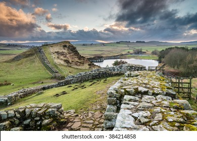 Milecastle 42 on Hadrian's Wall / The Pennine Way walking trail joins the Roman Wall at this section,which is a UNESCO World Heritage Site