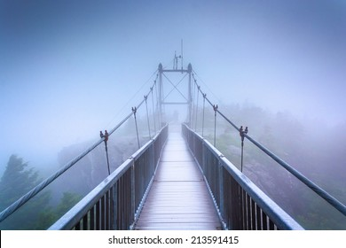 The Mile-High Swinging Bridge in fog, at Grandfather Mountain, North Carolina.