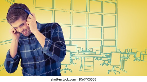 Milennial man with headphones against yellow and blue hand drawn office