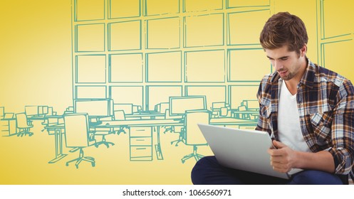 Milennial man with laptop against yellow and blue hand drawn office