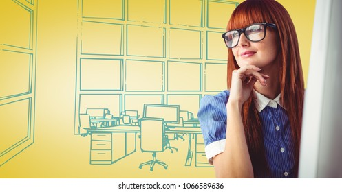 Milennial woman at computer against yellow and blue hand drawn office