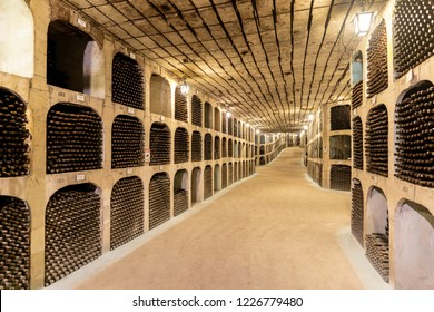 Milestii Mici, Moldova - November 2018: Undergound wine collection of Milestii Mici Winery near Chisinau, Moldova Republic
