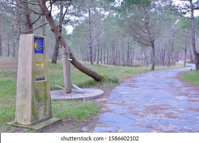 Milestone to Finisterre in the Camino de Santiago. The last stage in the jacobian way.