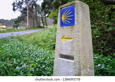 Milestone to Muxia in the Camino de Santiago. One of the last stages in the jacobian way.