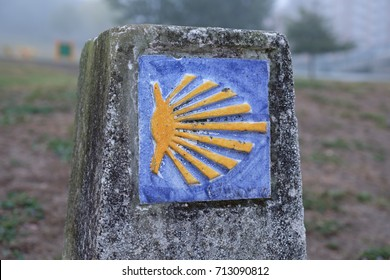 """Milestone on the oldest Way of St. James in Spain, the """"Camino Primitivo"""" (from Oviedo to Santiago de Compostela)"""