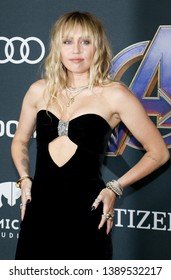 Miley Cyrus at the World premiere of 'Avengers: Endgame' held at the LA Convention Center in Los Angeles, USA on April 22, 2019.