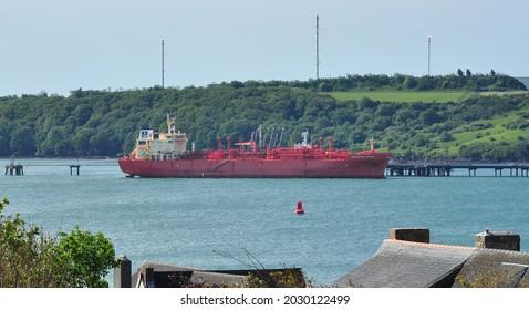 MILFORD HAVEN, PEMBROKESHIRE, UK - June 17, 2021. LPG tanker 'Navigator Taurus' at Milford Haven, Pembrokeshire, Wales