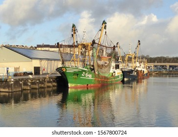 Milford Haven, Pembrokeshire, United Kingdom - January 8th 2015: European Union (EU) trawlers regularly fish in the South West UK seas and unload their catch in Milford Fish Docks.
