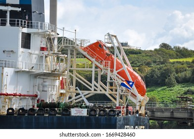 Milford Haven Valero Terminal, Pembrokeshire, Wales - August 31, 2019: free fall lifeboat on board Crude Oil tanker Star Swift.