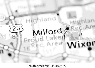 Milford. Michigan. USA on a map